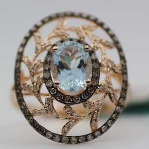 EFFY 14k Rose Gold Aquamarine & Brown Diamond Ring